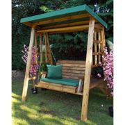 Charles Taylor Dorset Two Seat Swing with Green Cushions and Roof Cover