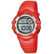 Childrens Digital Chronograph Watch with Red Patent Strap
