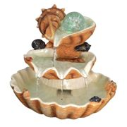 (Clam Shell Fountain) Geezy Indoor LED Tabletop Water Fountain