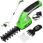 Cordless hedge trimmer with 2 attachments and telescopic pole incl. battery - green