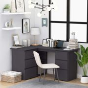 Corner Desk Grey 145x100x76 cm Chipboard