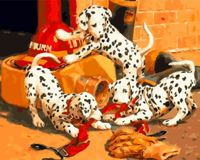 Dalmatian Puppies Fire Worker Helmet Dog Puppy Pet Animal, 1pc Dog Pet Animal Acrylic Diy Painting By Number Hobby Kit Home Wall Picture Decor Arts