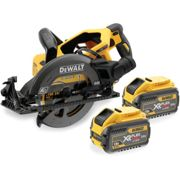 DCS577T2-GB 54V XR FLEXVOLT Cordless Brushless High Torque 190mm Circular Saw with 2x 6.0ah Batteries and charger in soft kit Bag.