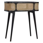 Debby Wooden Tray Side Table In Ash Black With Rattan Top