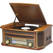 Denver MCR-50 Retro Wooden Music Centre Hi-Fi With Remote Control, Record Player, CD Player, Cassette Player, FM/AM Radio, USB, AUX IN - Record to MP3