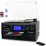 DIGITNOW! Bluetooth Viny Record Player Turntable, CD, Cassette, AM/ FM Radio and Aux in with USB Port & SD Encoding- Remote Control, Built-in stereo speaker, Stand Alone Music Player, Remote Control