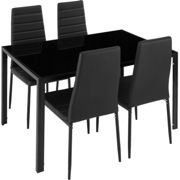 Dining table and chair Set Berlin 4+1 - black