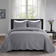 (Double) Embossed 3 Piece Quilted Bedspread Bed Throw Set