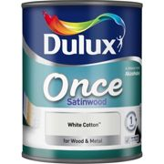 Dulux 750ml Once Satinwood Paint, White Cotton