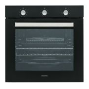 electriQ Extra Large Capacity 73 Litre Built in Black Electric Fan Assisted Single Oven - Supplied with a plug