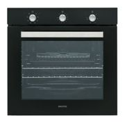 electriQ Extra Large Capacity 73 Litre Built in Electric Fan Assisted Black Single Oven - Supplied with a plug