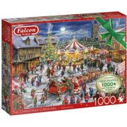 Falcon Deluxe Christmas Town & Carousel Jigsaw Puzzle (2 x 1000 Pieces)