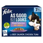 Felix Senior Mixed Selection Cat Food - Felix As Good As It Looks Senior Cat Food - Mixed - 12 x 100g