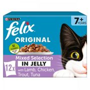 Felix Senior Mixed Cat Food - Mixed Chunks in Jelly - 12 x 100g Pouches