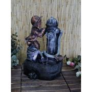 (Fire Hydrant Boy Fountain) Freestanding LED Water Fountain | Small Garden Fountain with LED Lights