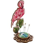Flamingo, Pin Cushion Seed Beaded Embroidery Craft DIY Kit Ornament On Wooden Canvas Sewing Gift Cross Stitch 10cm