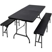 Folding table with benches in a rattan look - black