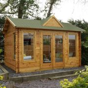 Forest Alderley 4mx3m Log Cabin Garden Room with Shingle Roof