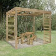 Forest Dining Wooden Garden Pergola Kit with Panels 10'x8'