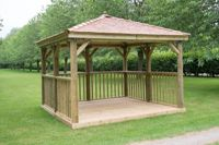 Forest Garden 3.5m Square Wooden Gazebo with Cedar Roof (Including Base)