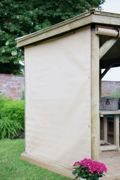 Forest Garden 4m Hexagonal Wooden Garden Gazebo Curtains - Cream