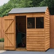 Forest Garden 6 x 4 ft Reverse Apex Overlap Dip Treated Shed with Assembly