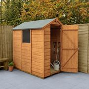 Forest Garden 6 x 4 ft Small Apex Shiplap Dip Treated Shed with Assembly