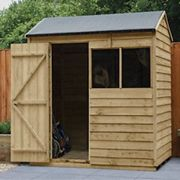 Forest Garden Forest Overlap PressTreat 6x4 RVApex Shed Reverse Apex Shed Wood