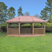 Forest Garden 6m Premium Oval Wooden Gazebo with Cedar Roof and Benches