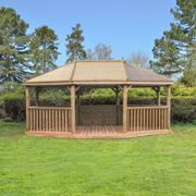 Forest Garden 6m Premium Oval Wooden Gazebo with Timber Roof and Benches