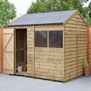 Forest Garden 8 x 6ft Overlap Reverse Apex Pressure Treated Shed