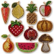 Fruits Vegetables Mix 20pcs Wooden Bases, Seed Bead Thread Embroidery On Wood, Cross Stitch DIY Set, Pendants Home Decor