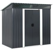 Garden Shed Anthracite Metal 6x4ft with Pent Roof