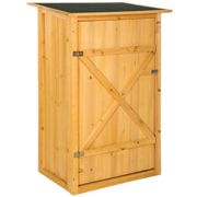 Garden storage shed with a flat roof - brown