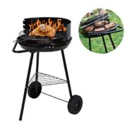 GEEZY Black Round Trolley Charcoal Barbeque BBQ Grill Outdoor Garden Patio Cooking