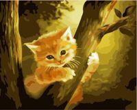 Ginger Orange Kitten Tree Forest Kitty Pet Animal, 1pc Ginger Kitten Pet Animal Acrylic Diy Painting By Number Hobby Kit Home Wall Picture