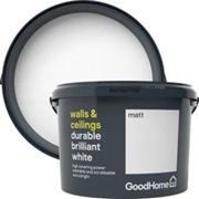 GoodHome Durable Brilliant white Matt Emulsion paint 2.5L