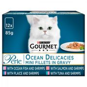 Gourmet Perle Mixed Selection Cat Food - Ocean Delicacies in Gravy - 12 x 85g Pouches