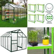 Greenhouse 6ft x 10ft (Green) & Racking