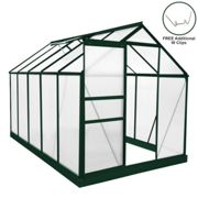 Greenhouse Polycarbonate 6ft x 10ft With Base (Green)