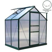 Greenhouse Polycarbonate 6ft x 4ft With Base (Green)