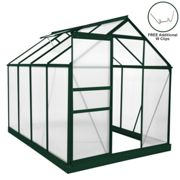Greenhouse Polycarbonate 6ft x 8ft With Base (Green)
