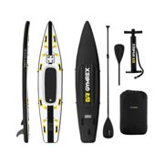 Gymrex Inflatable SUP Board - 120 kg - black/yellow - set with paddle, seat and accessories GR-SPB375