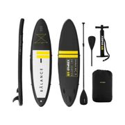 Gymrex Inflatable SUP Board - 145 kg - black/yellow - set with paddle and accessories GR-SPB325