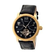Heritor Gent's Automatic Piccard Watch with Open Heart, IP Plated Case and Genuine Leather Strap