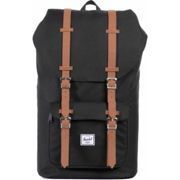 Herschel Little America 25L Backpack (Black/Tan Synthetic Leather)