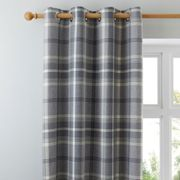 Highland Check Dove Grey Eyelet Curtains Grey and Black