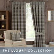 Highland Check Dove Grey Pencil Pleat Curtains Grey
