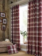 Highland Check Long Lined Curtains Plum 229X229