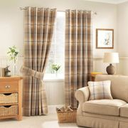 Highland Check Ochre Eyelet Curtains Yellow and Black